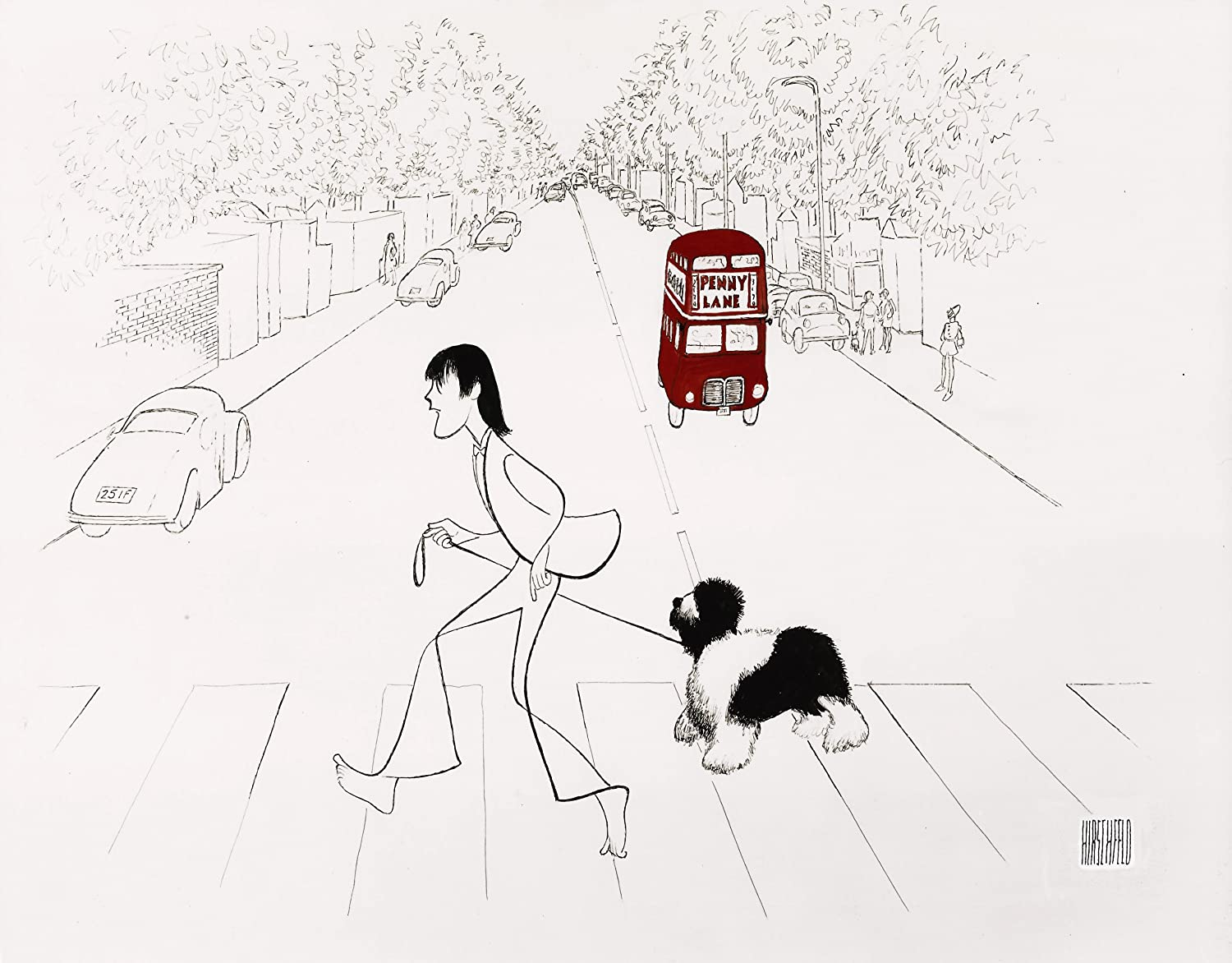 Hand Signed AL HIRSCHFELD, PAUL MCCARTNEY AND MARTHA IN LONDON CROSSING ABBEY ROAD, Limited-Edition Lithograph THE MARGO FEIDEN GALLERIES LTD. New York