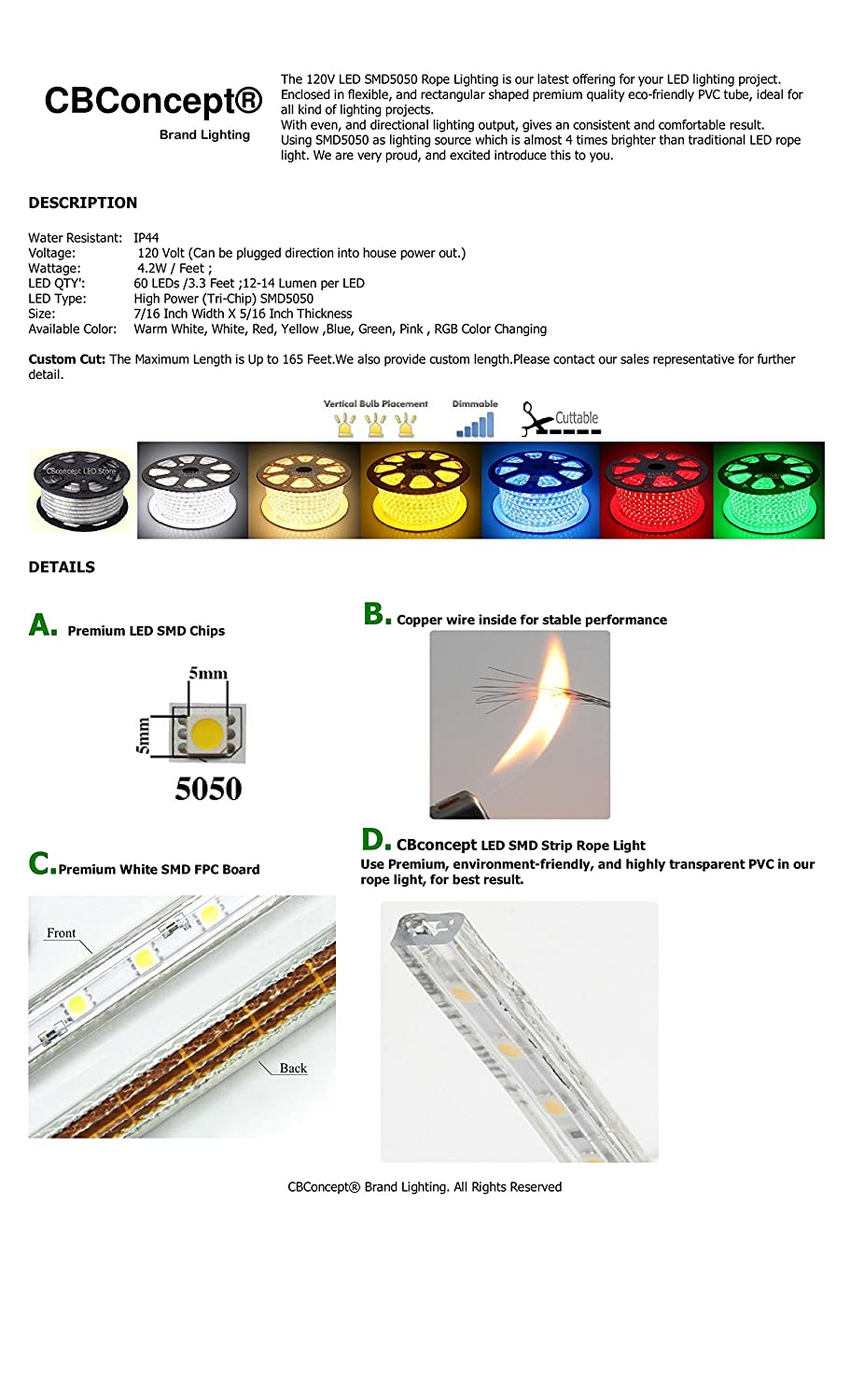 Dimmable Indoor//Outdoor Use, 4000K Soft White Ready to use 240 Units 5050 SMD LEDs Super Bright 3600 Lumen 110-120V AC Flexible Flat LED Strip Rope Light CBconcept UL Listed 13 Feet
