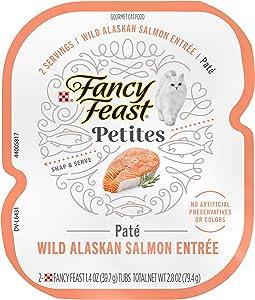 Purina Fancy Feast Gourmet Pate Wet Cat Food, Petites Wild Alaskan Salmon Entree - (12) 2.8 oz. Tubs