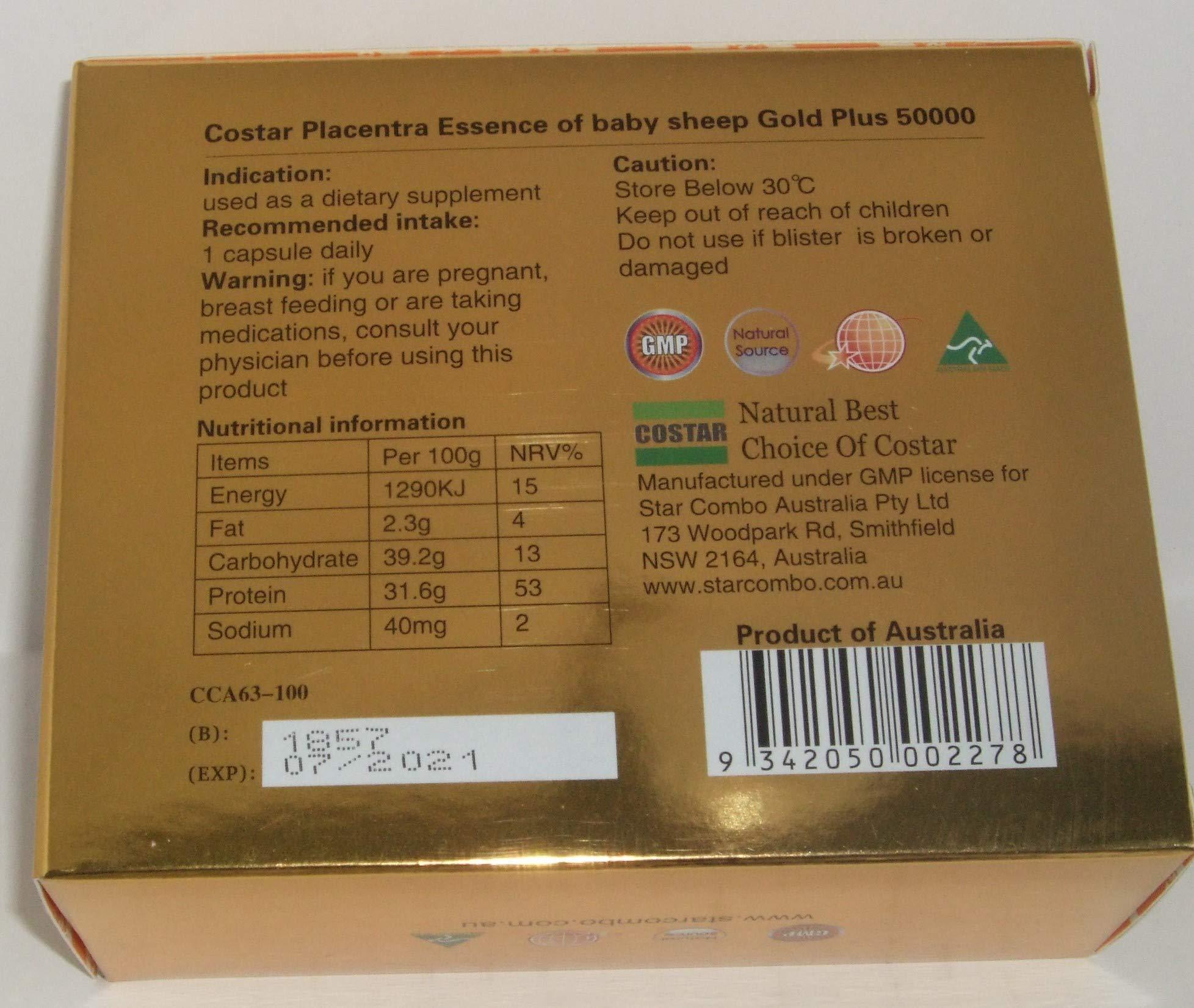 Costar Sheep Placenta Gold Plus 50000mg Essence of Baby Sheep100 Capsules Australian Made
