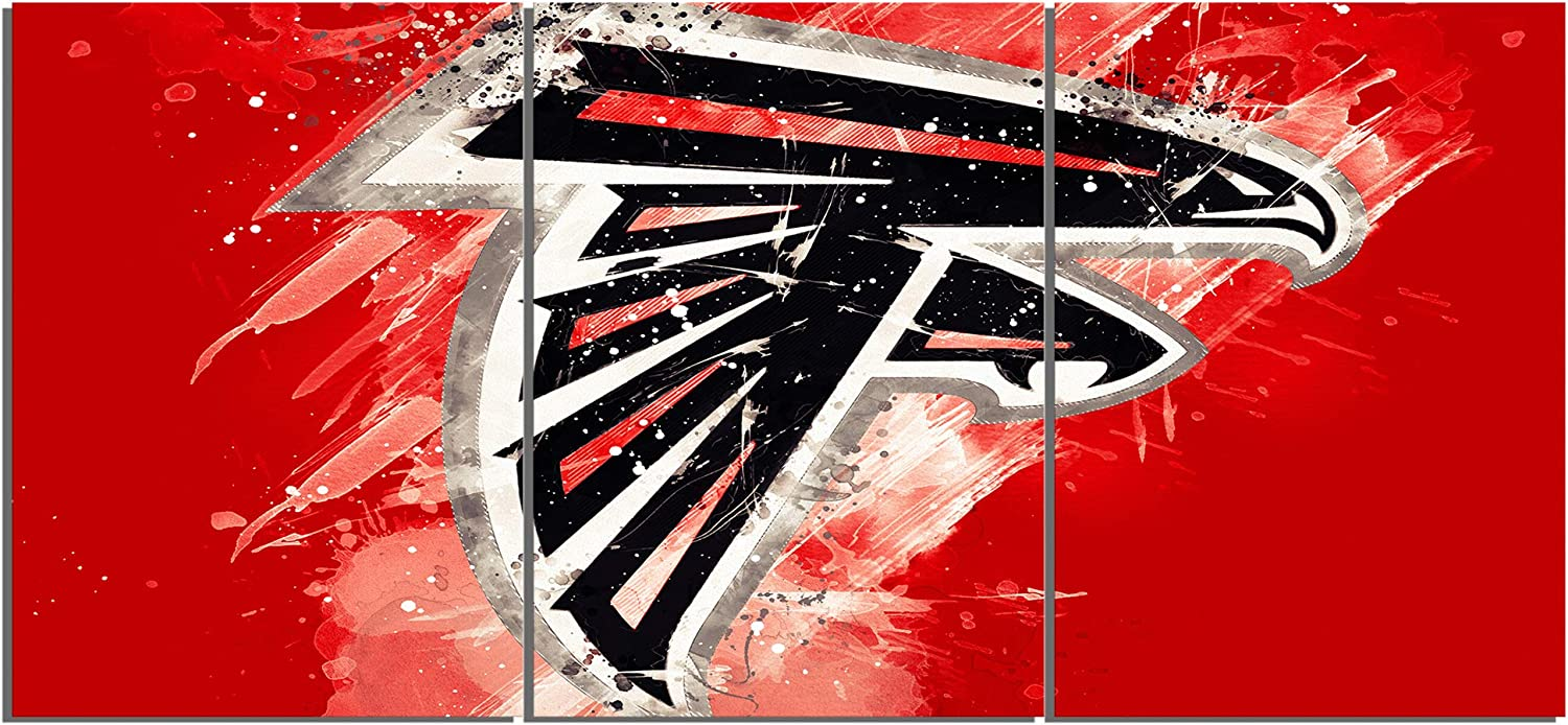 TYHC Art Atlanta Falcons Art Canvas Posters Home Decor Wall Art Unframed 3 Pieces Paintings for Living Room HD Prints Pictures A