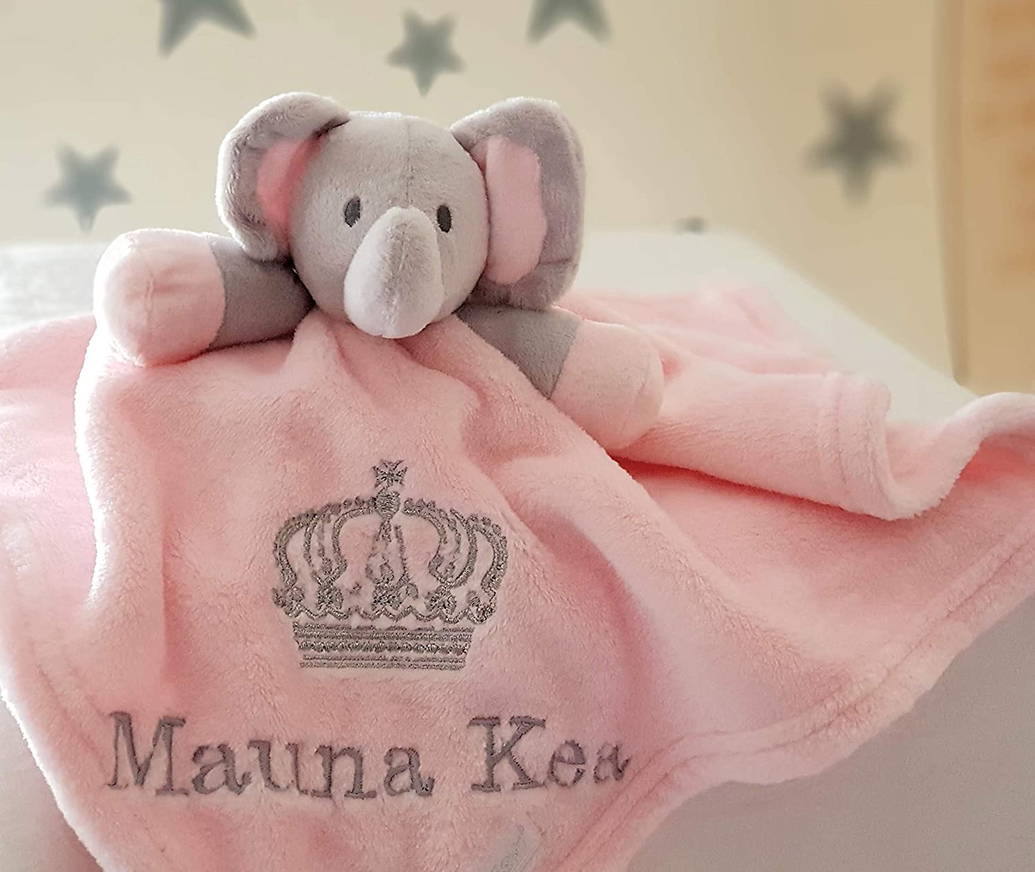 Personalised Pink Elephant Comforter Blanket / Soother Blanket / Royal Crown Blanket / New Baby Gift / Personalised Comforter