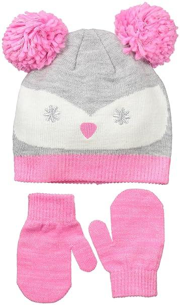 a03b8ea6 Amazon.com: Little Me Little Girls Owl Knit Pom Beanie Set, Gray, 2 ...