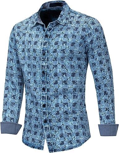 MEYINI Camisa Vaquera para Hombre - 100% algodón Liso Floral Camisas de Manga Larga con Botones: Amazon.es: Ropa y accesorios