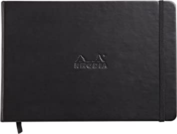 Black Leatherette Cover Blank Landscape 5.5 x 8.25 Rhodia Webnotebook