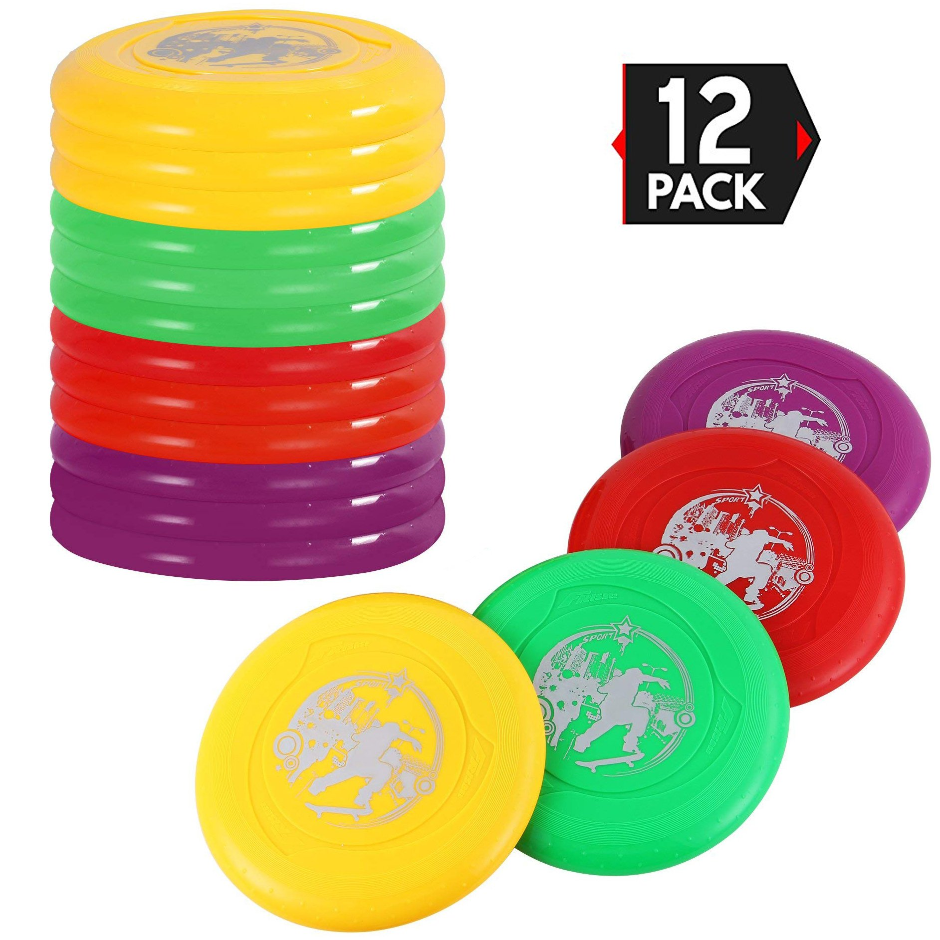 Liberty Imports Plastic Flying Disk Set for Outdoors Beach Backyard Sports Play Discs (Pack of 12) by Liberty Imports