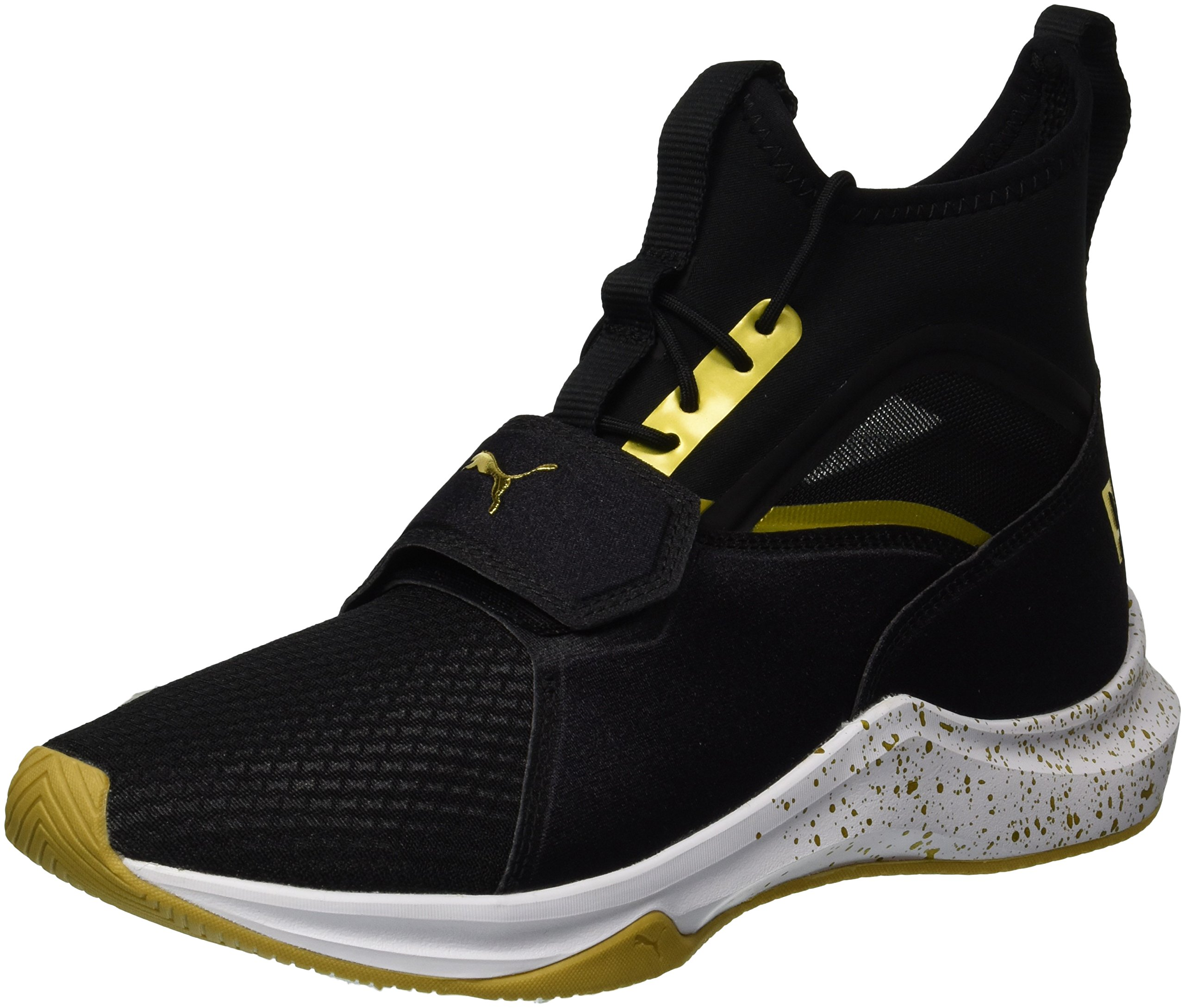 PUMA Women's Phenom Gold Wn Sneaker, Black Team Gold, 9.5 M US