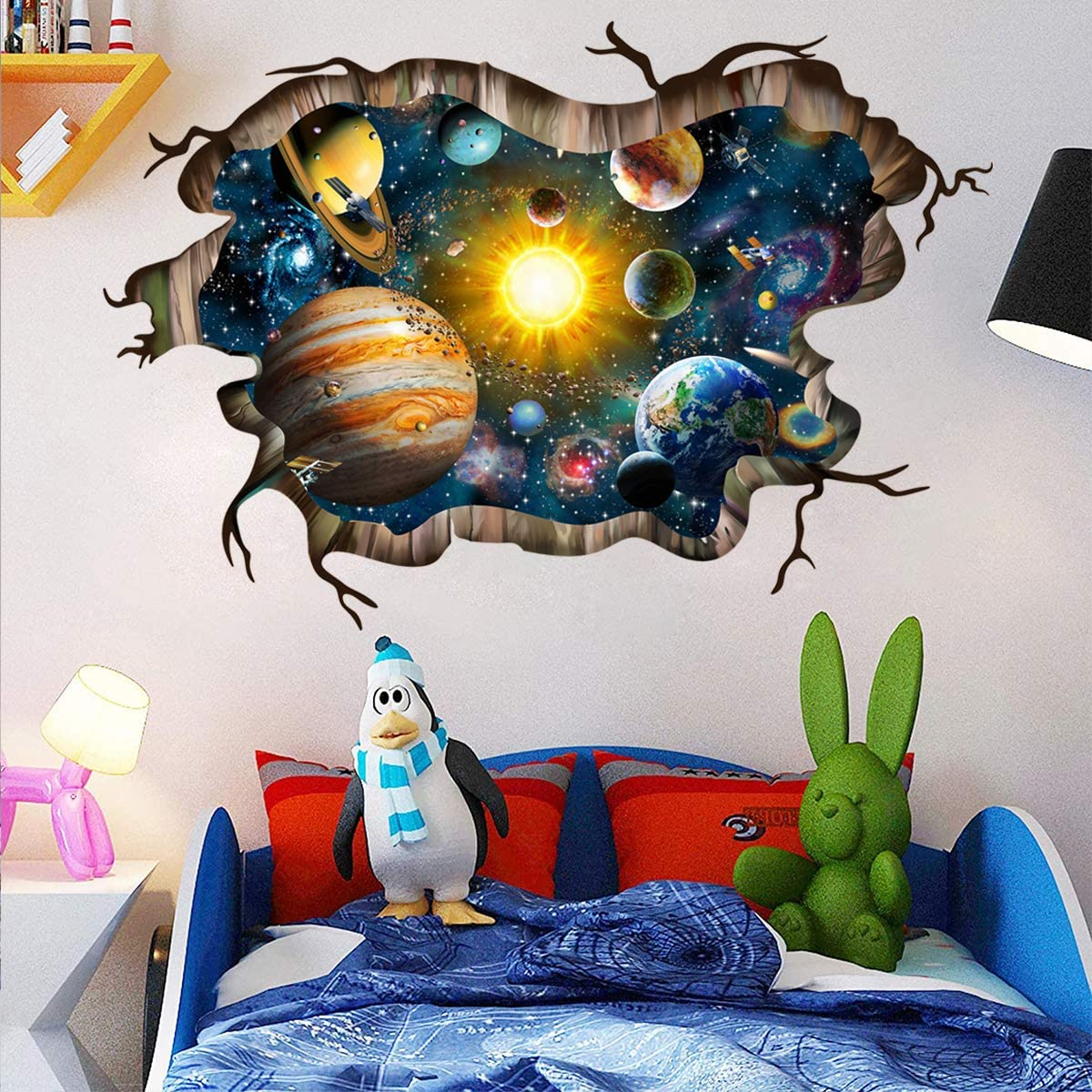 Universe Galaxy Wall Decals , DIY Peel and Stick Removable Art Murals 3D Milky Way Outer Space Planet,The Art Dreamscape Home Decor Muralsfor Home Walls Floor Ceiling Boys Room Kids Bedroom