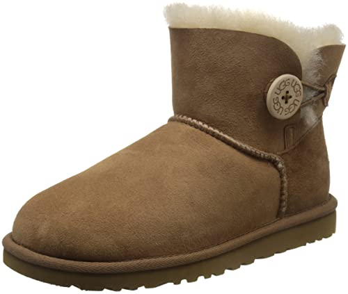 UGG Mini Bailey Button, Stivali Corti Donna, Marrone (CHESTNUT), 37
