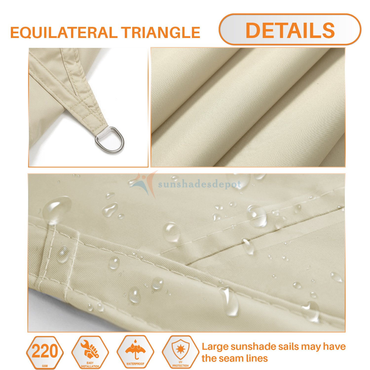 TANG Sunshades Depot 14 x14 x14 Equilateral Triangle Waterproof Terylene Knitted Shade Sail Curved Edge Beige 220 GSM UV Block Shade Fabric Pergola Carport Awning Canopy Replacement Awning