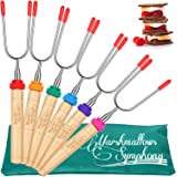 High Quality Marshmallow Roasting Sticks Set of 6 Extra Long Stainless Steel Rotating Hot Dog Forks & Smores Skewers Telescoping 34 Inch - Campfire, Camping Grill & Fire Pit Forks Sticks Accessories