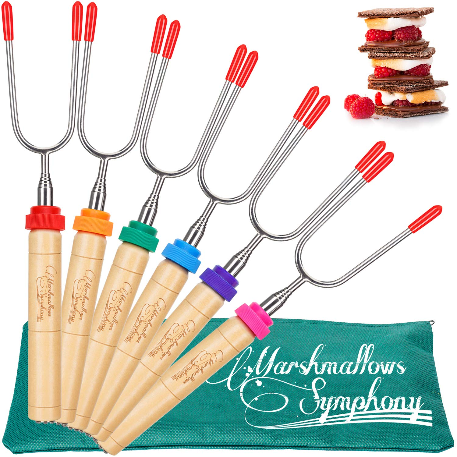 CARPATHEN Marshmallow Roasting Sticks - set of 6 Telescopic Smores Skewers Extra Long Heavy Duty - Perfect Hot Dog Forks for Outdoor Fire Pit & Fireplace, Camping Grill, Campfire & Bonfire Accessories