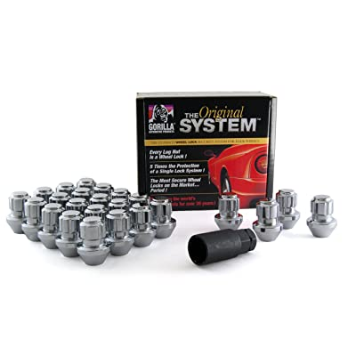Gorilla Automotive 96644DX Chrome Factory Style Wheel Lock System - 24-Pack (14mm x 1.50 Thread Size): Automotive
