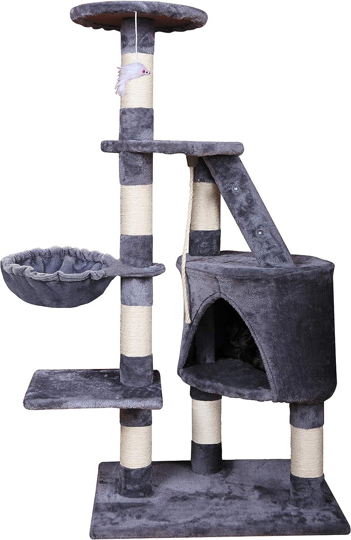 MC Star Árbol para Gato torre de escalada 120cm Gris Estable Rascador con Nidos, Hamaca, Plataformas, Juguete para gatos, Poste De Rascar De Sisal natural, PCT01305
