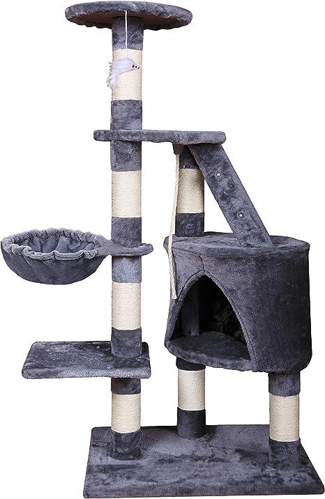 MC Star Árbol para Gato torre de escalada 120cm Gris Estable Rascador con Nidos, Hamaca, Plataformas, Juguete para gatos, Poste De Rascar De Sisal ...