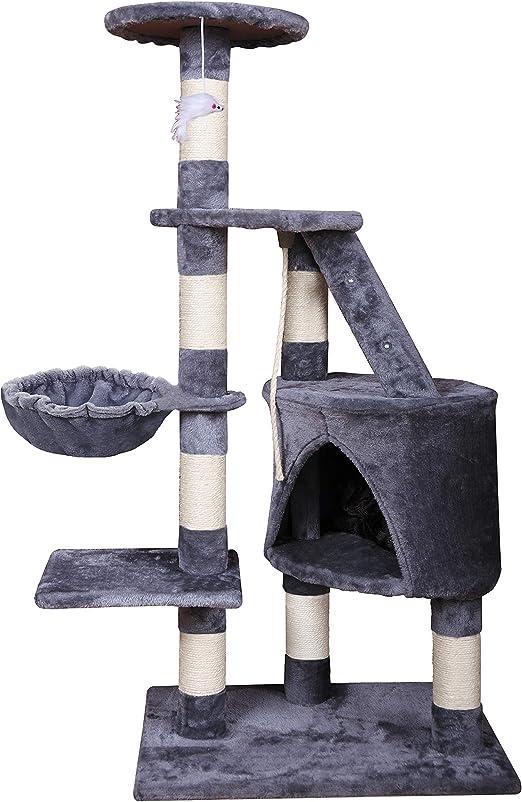 MC Star Árbol para Gato Torre de Escalada 120cm Gris Estable Rascador con Nidos, Hamaca, Plataformas, Juguete para Gatos, Poste De Rascar De Sisal Natural, PCT01305: Amazon.es: Productos para mascotas