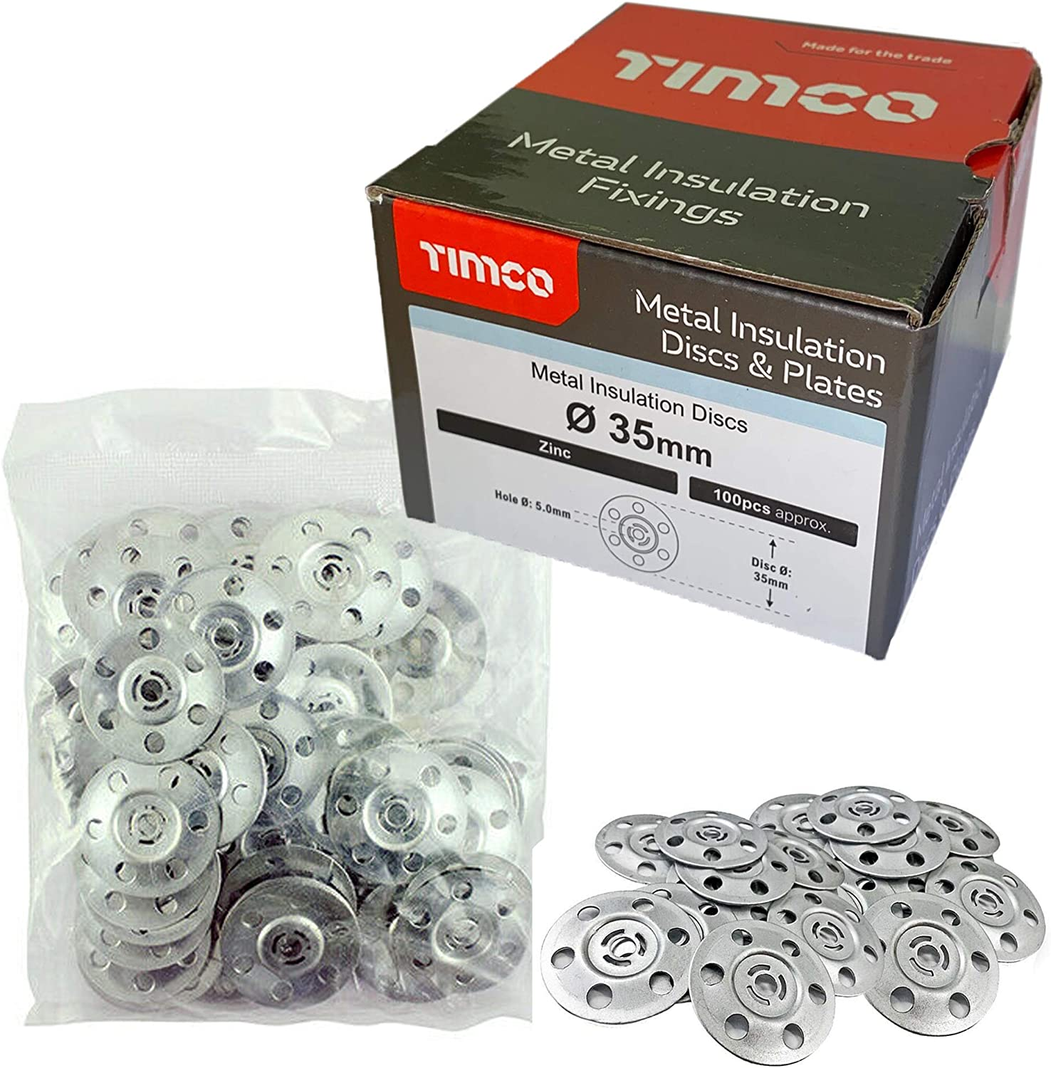 200x TIMco MID35 35mm Metal Insulation Discs Washers Wall and Ceiling Fixings Plasterboard