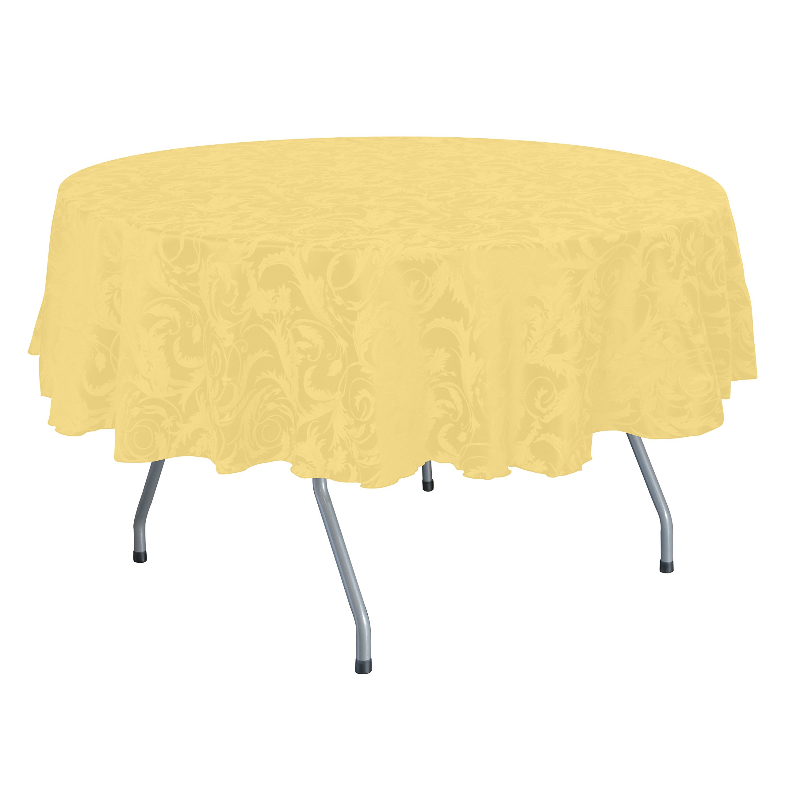 Ultimate Textile (5 Pack) Damask Melrose 60 x 120 Inch Oval Tablecloth - Home Dining Collection - Floral Leaf Scroll Jacquard Design, Gold by Ultimate Textile (Image #1)