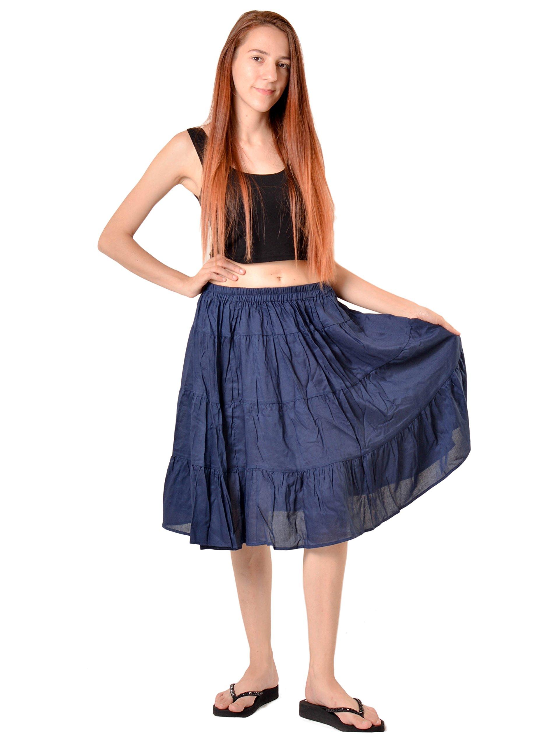 Orient Trail Women's Hippie Bohemian Boho Knee Length Skirt Medium Dark Blue