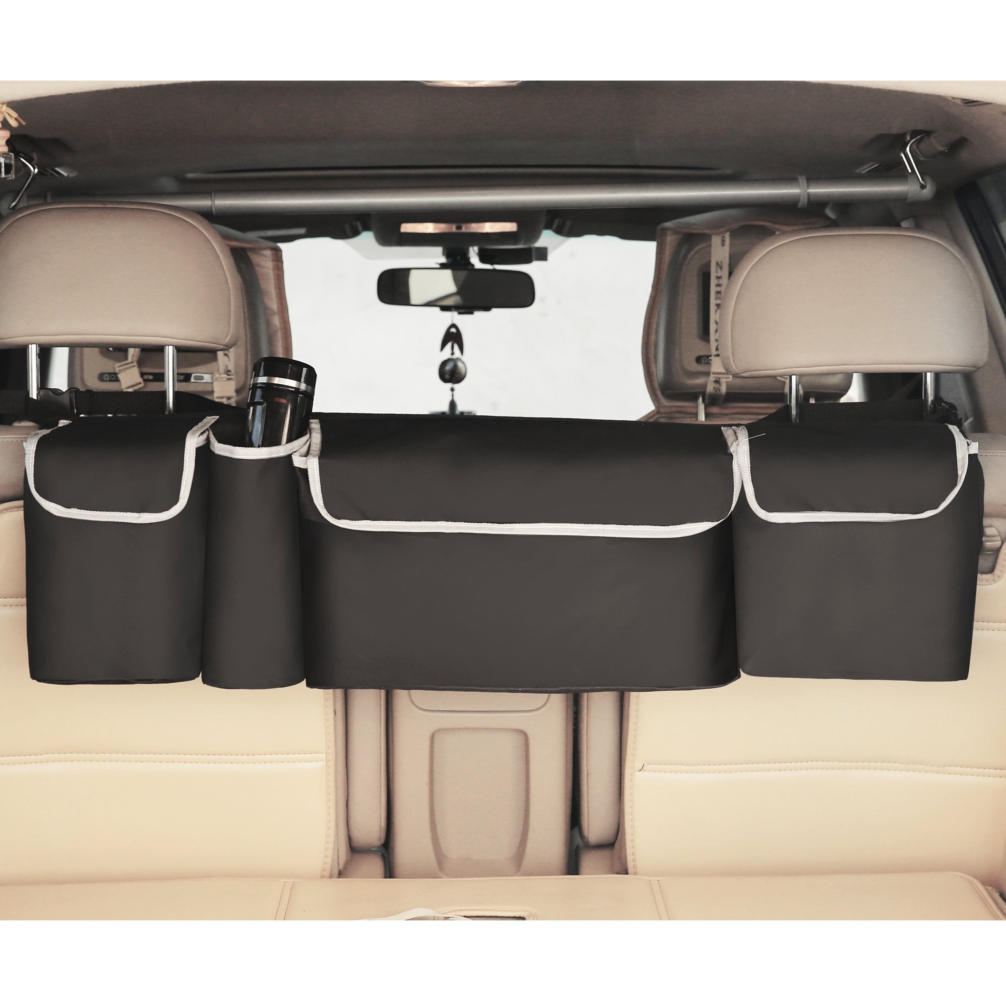 Trunk Organizer 2 in 1 - Space Saving, High Capacity Auto Backseat and Trunk Storage - Fits Any Car, SUV or Van Using Fully Adjustable Straps by LOONGCN