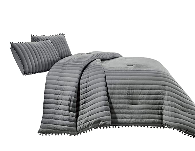 Chezmoi Collection Iris 3 Piece Gray Pom Poms Fringe Channel Quilted Pre Washed Comforter Set, Queen Size by Chezmoi Collection