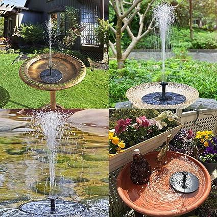 VITCOCO Fuente Solar, 2.1 W Kit Bomba Agua Solar, Fuente Solar Jardin con 6 Boquillas para Estanque, Jardin, Pajaros: Amazon.es: Jardín