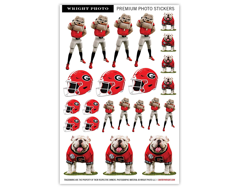 UGA Georgia Bulldogs ステッカーシート - 小さなキスカットデカール - ダイカットプレミアム品質ビニール - UGA X + ヘアリードーグ + フットボールヘルメット  Medium: 6\