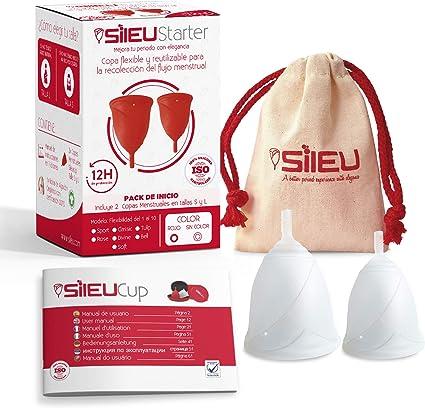 Sileu Starter - Copa menstrual Sileu Rose - Pack de 2 Unidades - Talla S + L, Transparente, Flexibilidad Standard