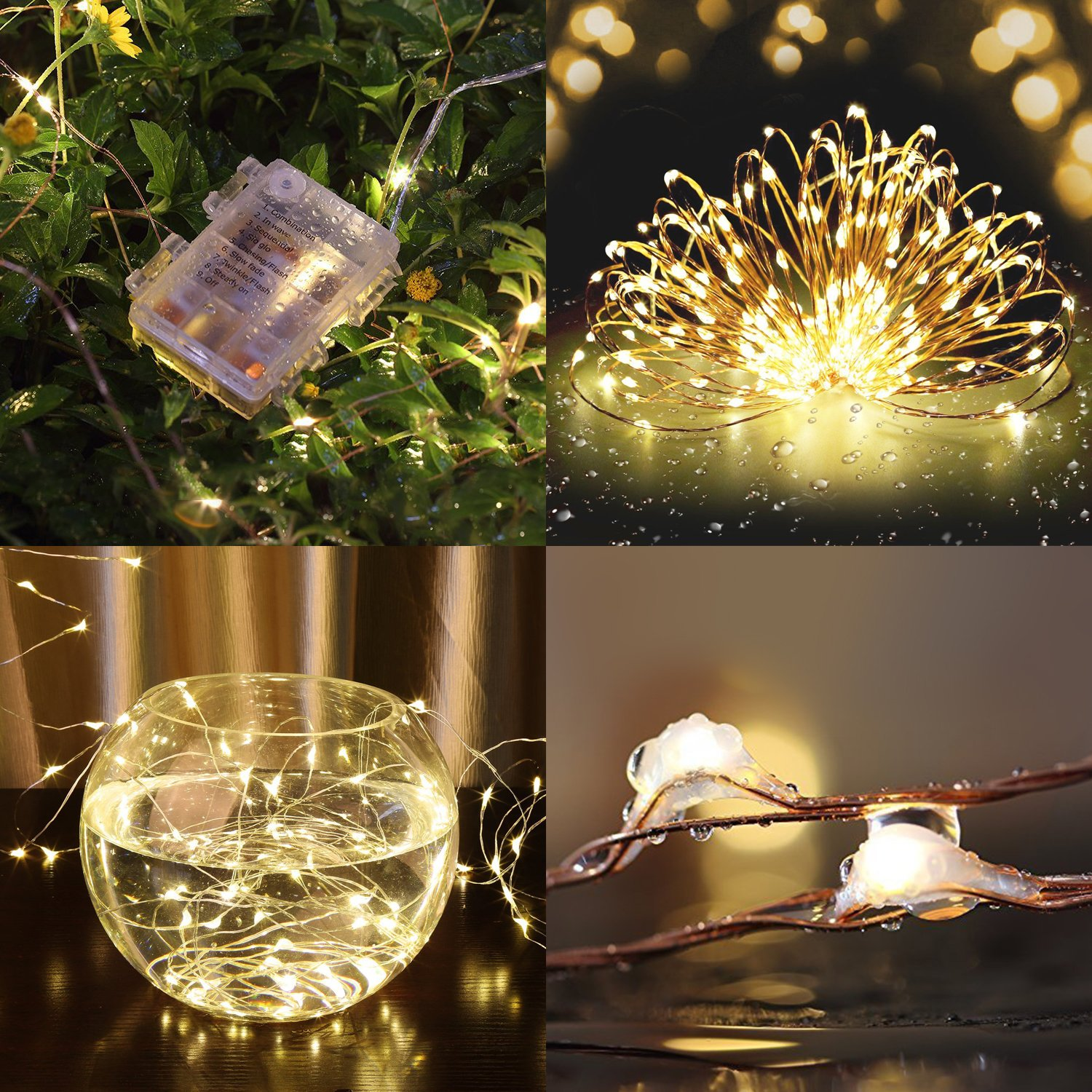 String Lights 2 Set 100 LED Christmas Fairy Lights with Remote Control(Timer),Warmtaste 33ft String Waterproof Copper Wire, Decor Rope Lights for Bedroom,Patio,Garden,Parties,Wedding(Warm White ) by Warmtaste (Image #4)