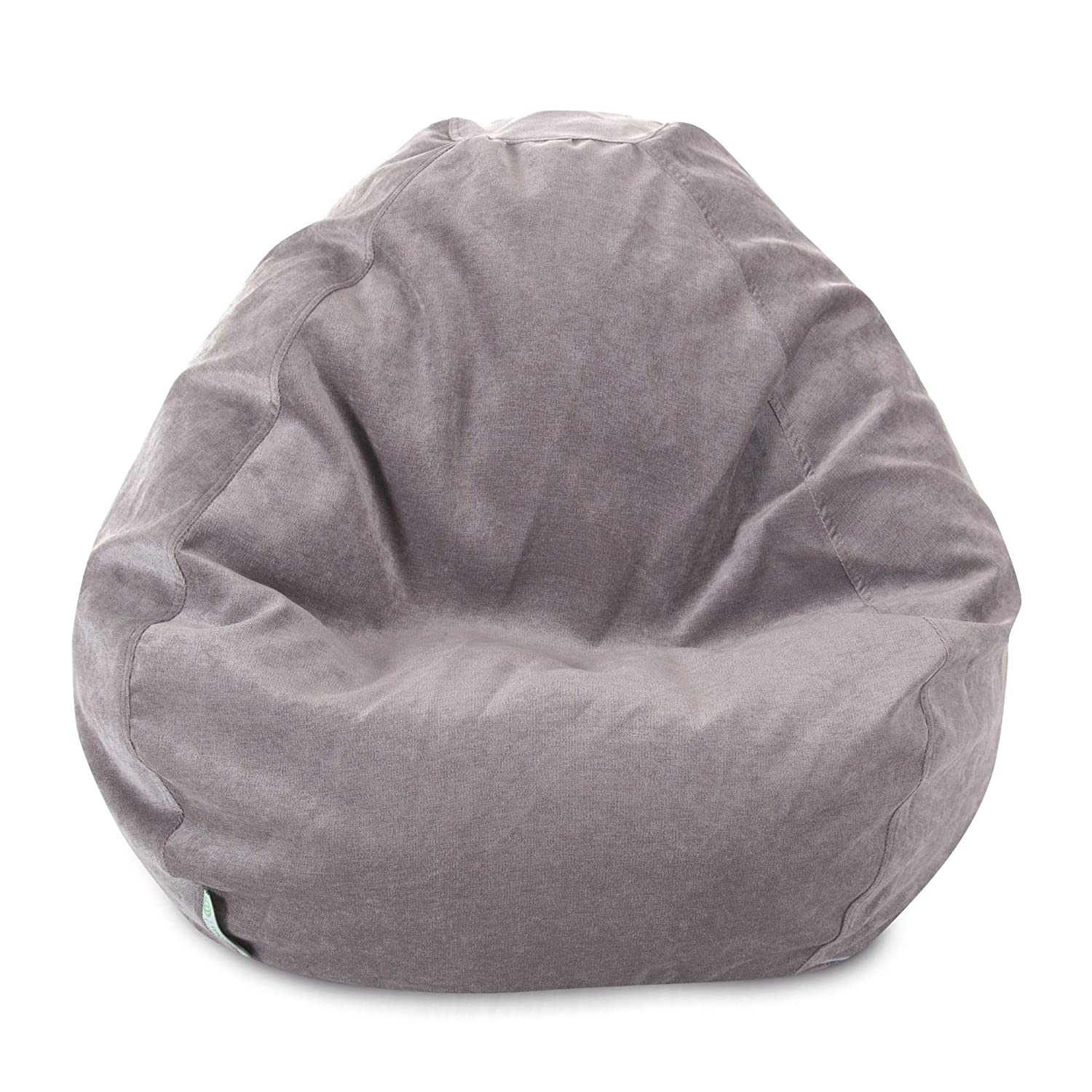 Majestic Home Goods Classic Bean Bag Chair Villa Giant Classic Bean Bags for Small Adults and Kids 28 x 28 x 22 Inches Vintage Gray