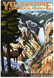 product image for Lantern Press Yellowstone National Park, Wyoming - Artist Point and Elk 48329 (6x9 Aluminum Wall Sign, Wall Decor Ready to Hang)