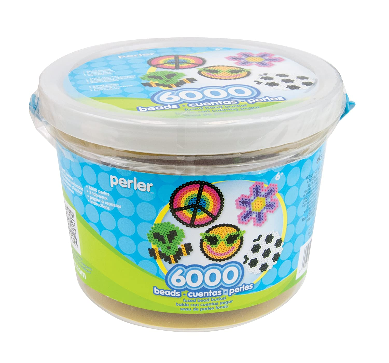 This bucket of beads will keep kids busy for hours! Create a design on a Pegboard, then iron to fuse the beads together. Bucket contains 6000 beads, 5 reusable Pegboards, Ironing Paper, and easy instructions. Pegboards included are: small square, small circle, small hexagon, small star, and small heart. For ages 5 and up