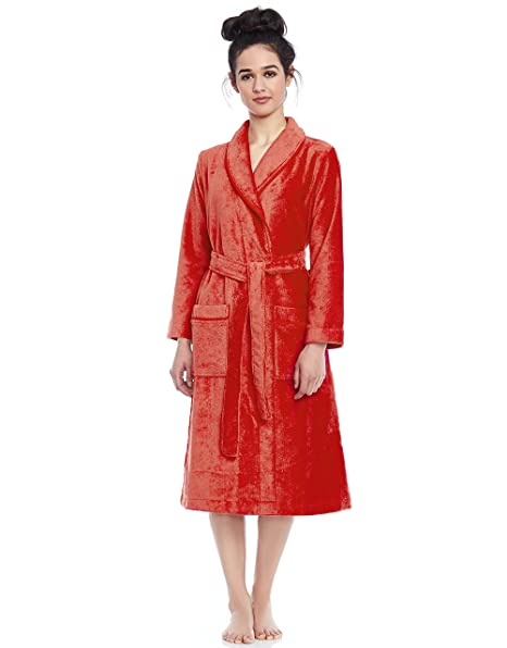 e8d6d9de72 Be Relax Short Women s Terry Cotton Bath Robe - Toweling with Belt -  Raspberry at Amazon Women s Clothing store