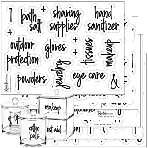 Script Bathroom Beauty Preprinted Labels, Organization Set. 105 Clear Script Stickers by Talented Kitchen. 105 Water Resistant Label Set for Bathroom Vanity Cabinet (Set of 105 Script Bathroom Titles)