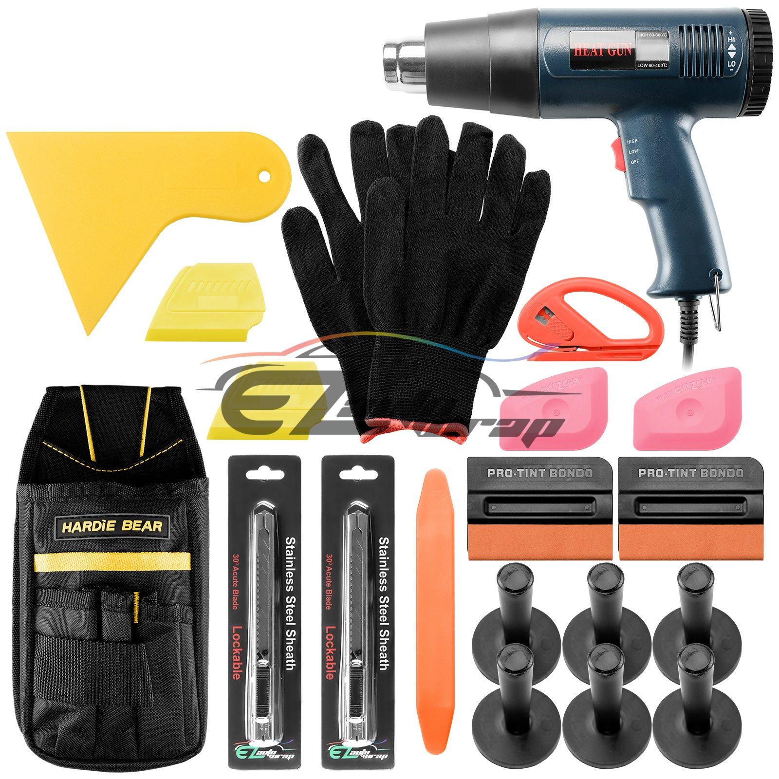 EZAUTOWRAP Professional Vinyl Wrap Film Application Tool Kit Scratchfree Felt Squeegees Heat Gun Lil Chizlers Gloves Tool Bag Snitty Cutter 30 Degree Razor Knife Magnets TK12