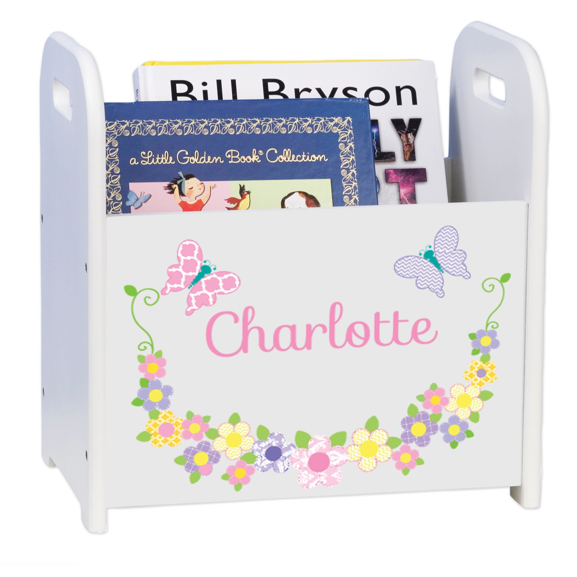 Personalized Pastel Butterflies White Book Caddy and Rack by MyBambino (Image #1)