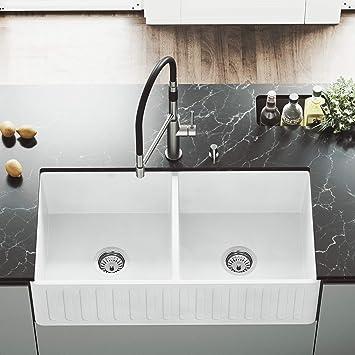 vigo vgra3318cs 36 inch farmhouse apron double bowl matte stone rh amazon com Farmhouse Apron Sink White White Apron Front Sink