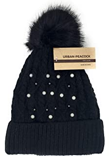 2a33ff50832 Urban-Peacock Trendy Chunky Soft Stretch Cable Knit Beanie Hat with  Pearlized Beads   Warm