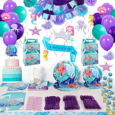 Mermaid Birthday Party Supplies Decorations Kit Favors Serves 16 Guests Tablecloth Plates Napkins Cups Spoons Knives Banner Balloons For Girl S Birthday Party And Baby Shower Decor 207 Pcs Party Packs Amazon Canada