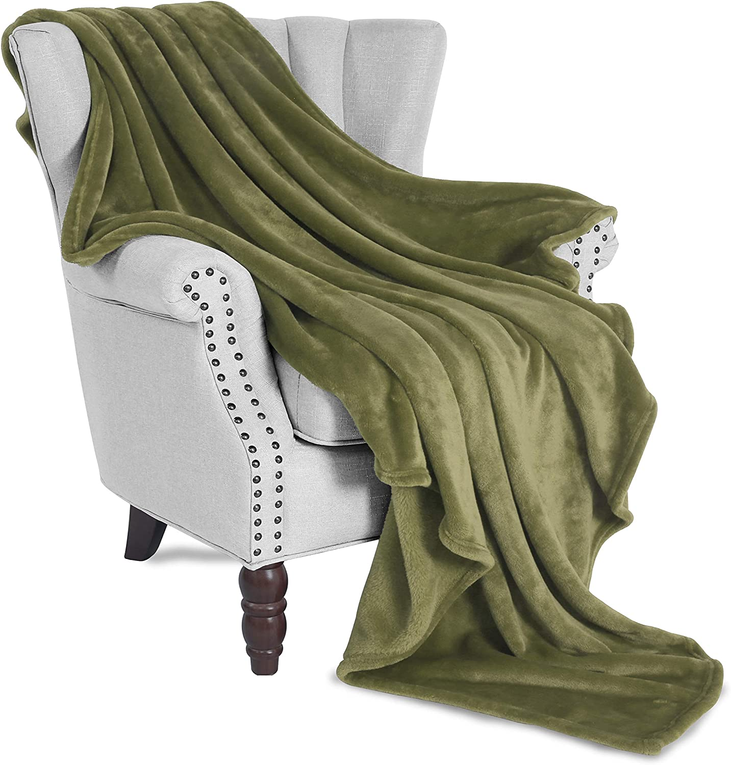 "Exclusivo Mezcla Large Flannel Fleece Plush Soft Throw Blanket – 50"" x 70"" (Olive Green)"