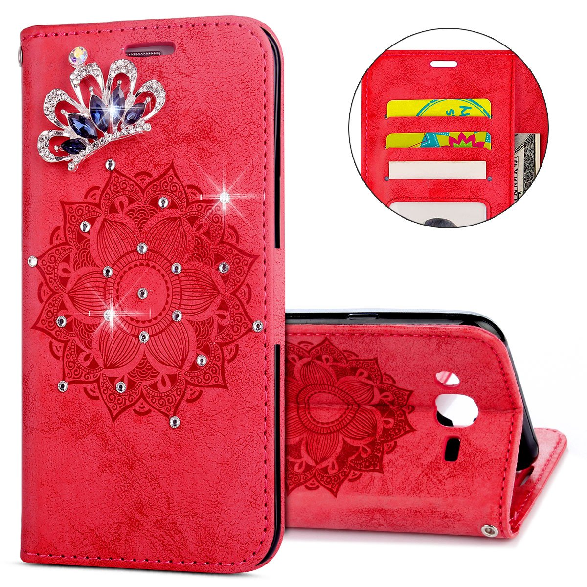IKASEFU Galaxy J5 Case,3D Clear Crown Rhinestone Diamond Bling Glitter Wallet with Card Holder Emboss Mandala Floral Pu Leather Magnetic Flip Case Protective Cover for Samsung Galaxy J5,Red