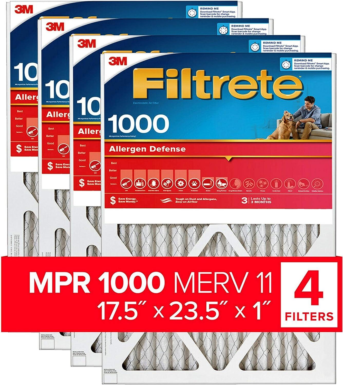 Filtrete MPR 1000 10x20x1 AC Furnace Air Filter 4-Pack Micro Allergen Defense