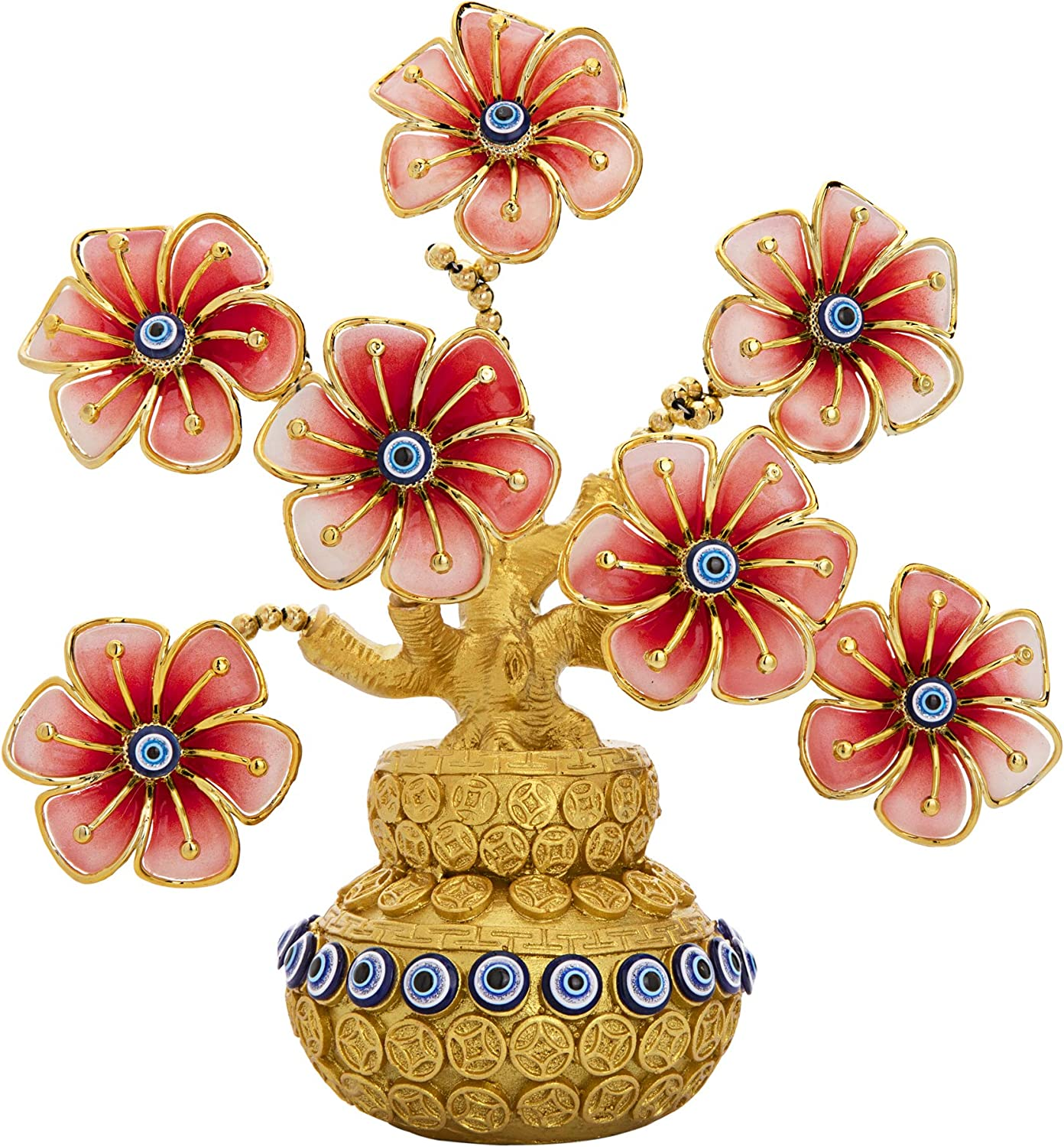 YU FENG Turkish Evil Eye Flowers Money Tree Ornament for Good Luck Wealth Prosperity Home Office Decor Fengshui Protection Gift