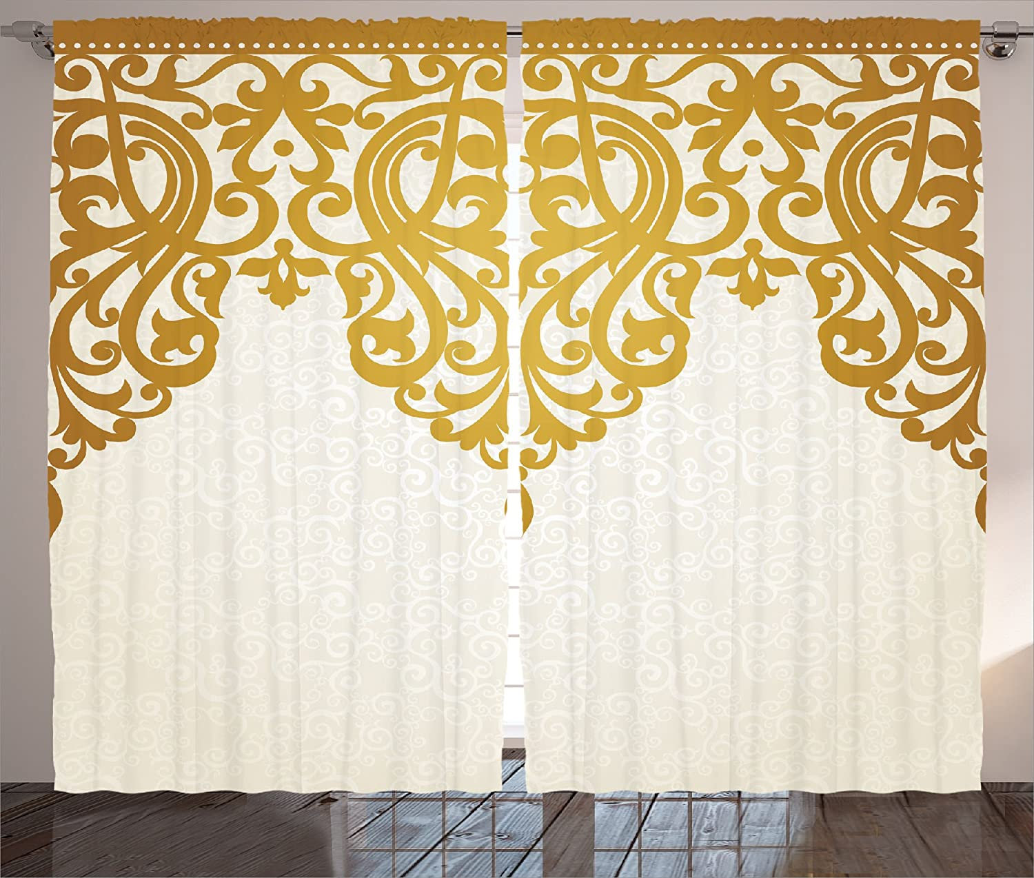 Ambesonne Off White Curtains Antique Decor, Victorian Style Medieval Motifs with Classic Baroque Oriental Decorating Shapes, Living Room Bedroom Curtain 2 Panels Set, 108 X 84 Inches, Golden Cream