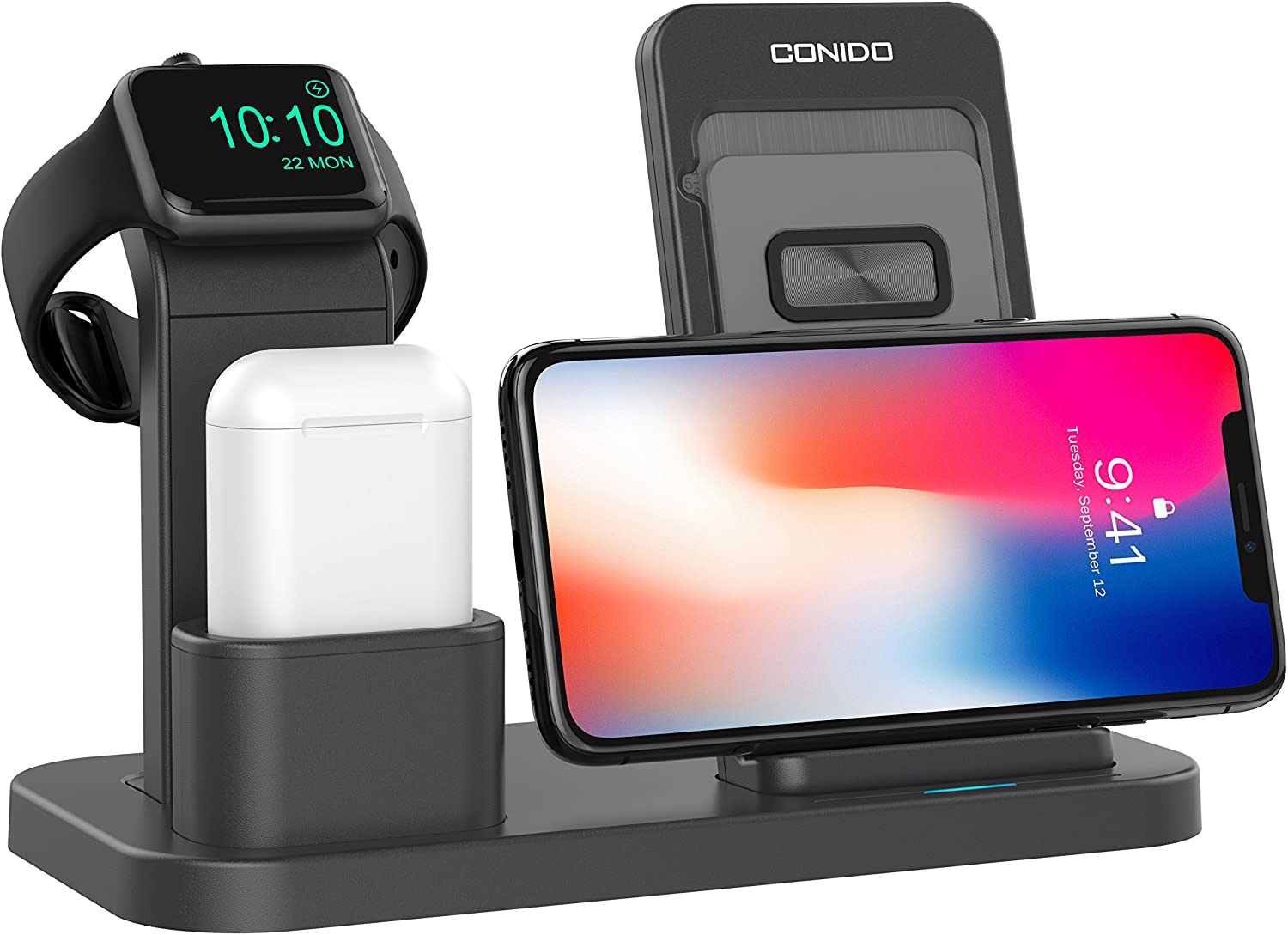 Conido Wireless Charger for iPhone, 3 in 1 Charging Stand