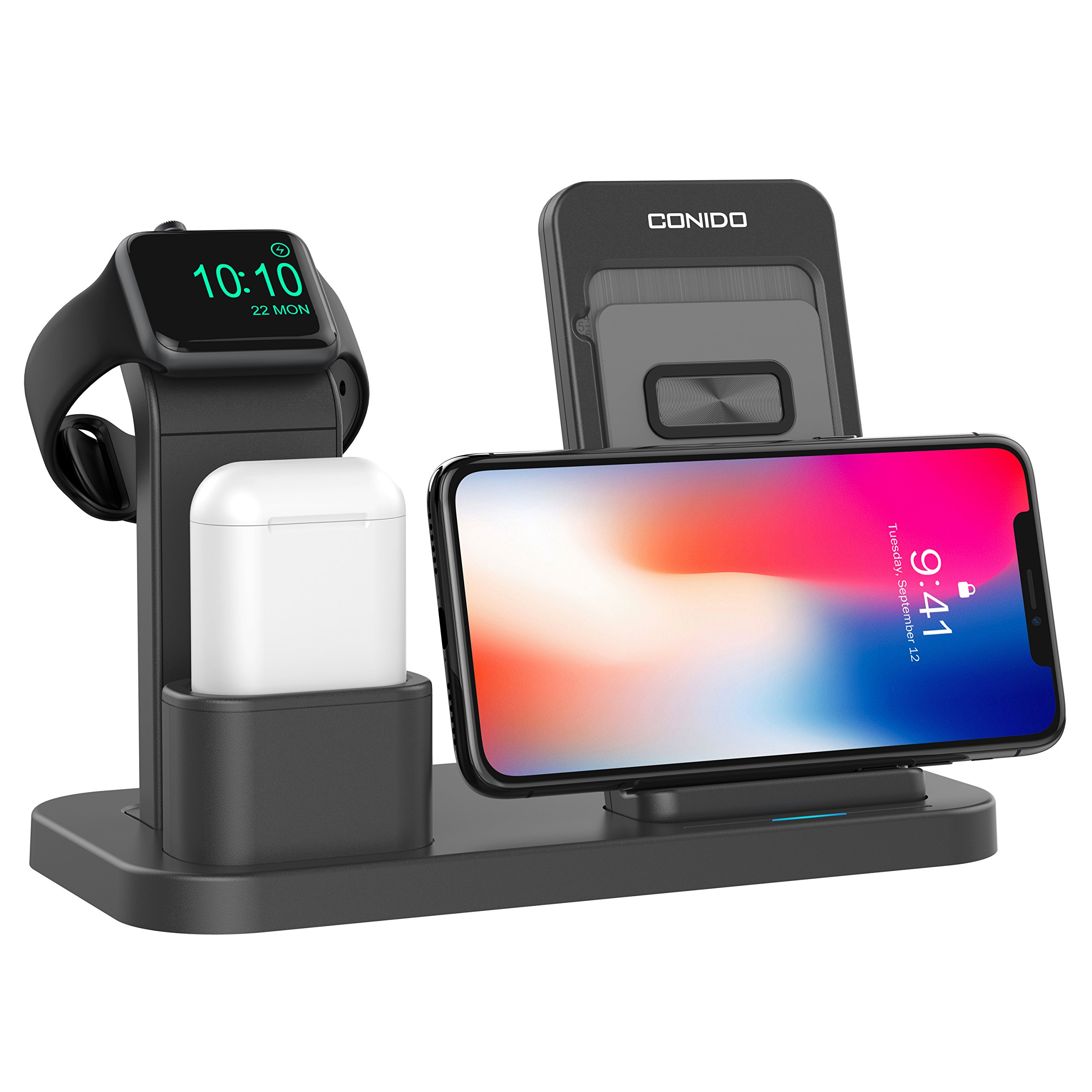 Conido Wireless Charger for iPhone, 3 in 1 Charging Stand for Apple Watch AirPods Charging station stock Holder for iPhone X/8 Plus/8 AirPods/Apple Watch Series 3/2/1 (Black)