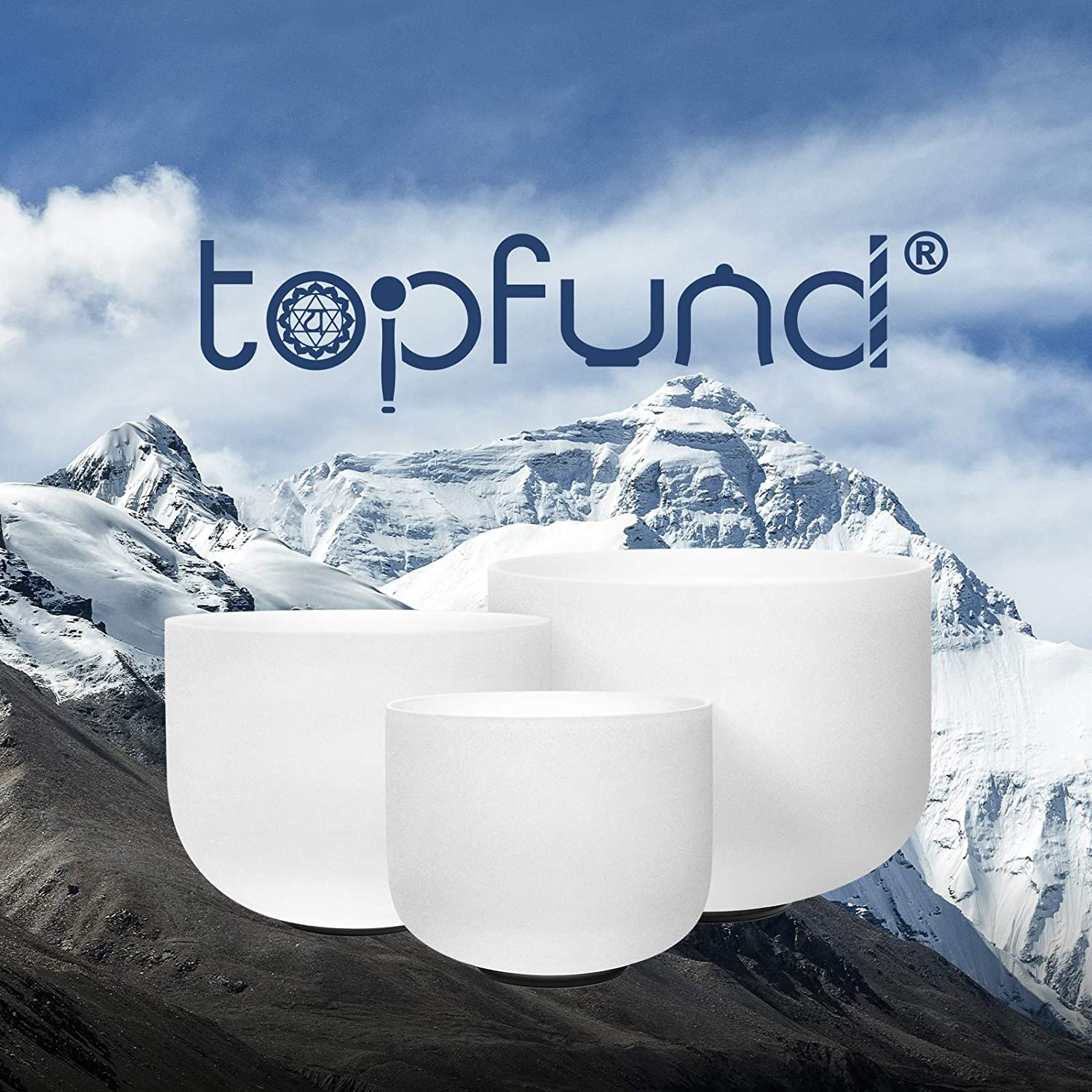 TOPFUND 432 hz Chakra Tuned Set of 7 Crystal Singing Bowls 8-14 inch with Heavy Duty Crystal Singing Bowls Cases and Crystal Singing Bowl Mallets and O-rings
