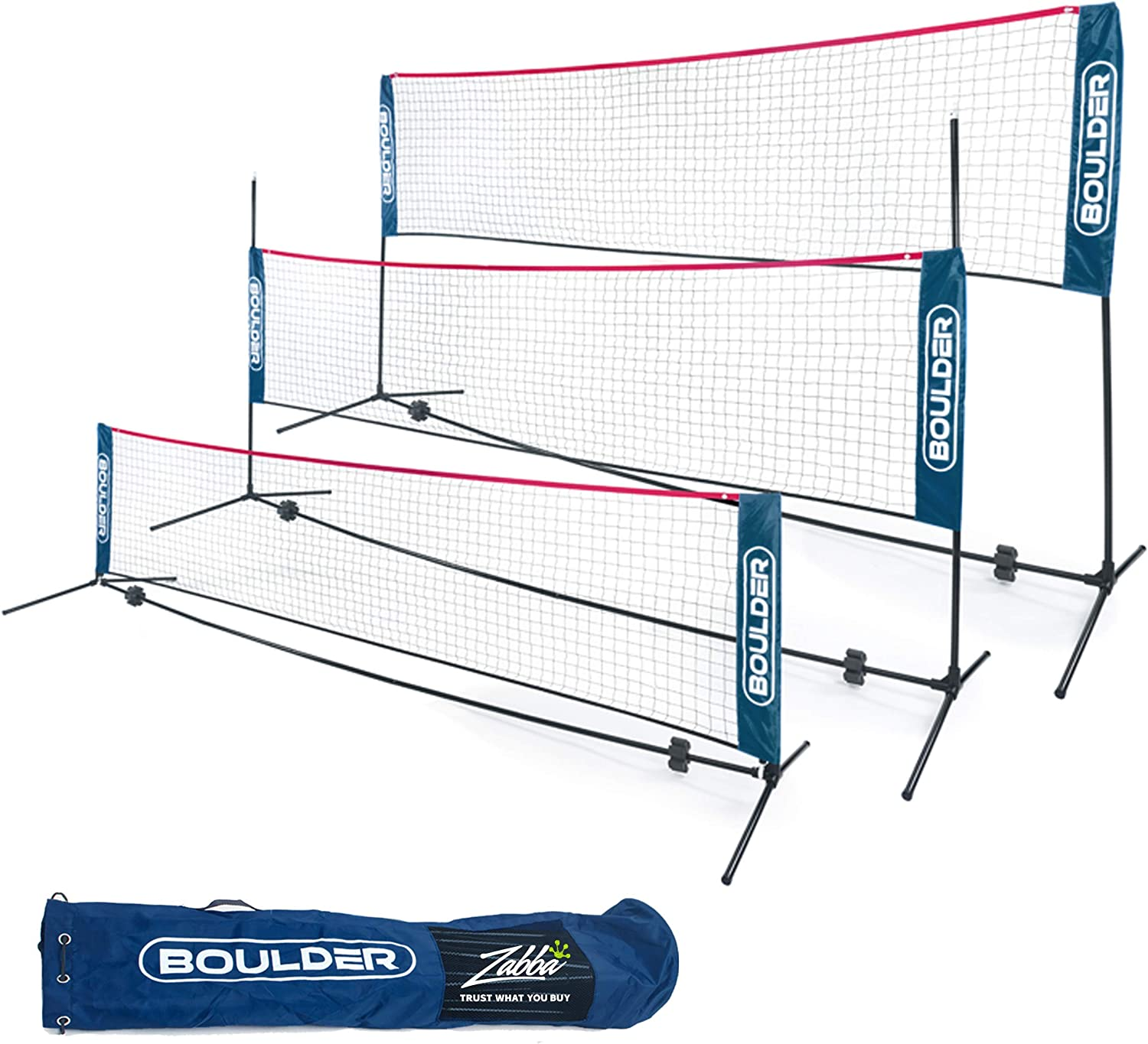 Boulder Portable Badminton Net Set - for Tennis, Soccer Tennis, Pickleball, Kids Volleyball - Easy Setup Nylon Sports Net with Poles : Sports & Outdoors