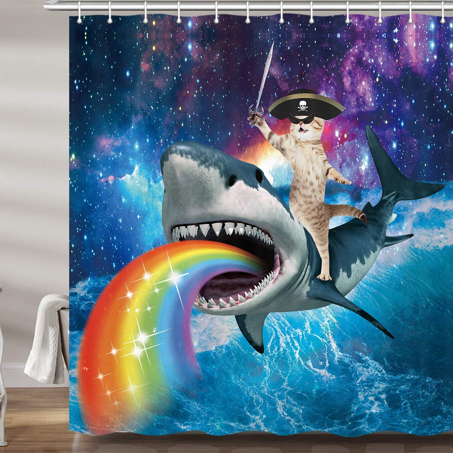 """JAWO Funny Pirate Cat Shower Curtains for Bathroom, Cool Cat Riding Shark in Universe Galaxy Bath Curtain Set, Ocean Wave Nautical Fabric Accessories Restroom Decor 12 Hooks Included (69"""" W X 72"""" H)"""