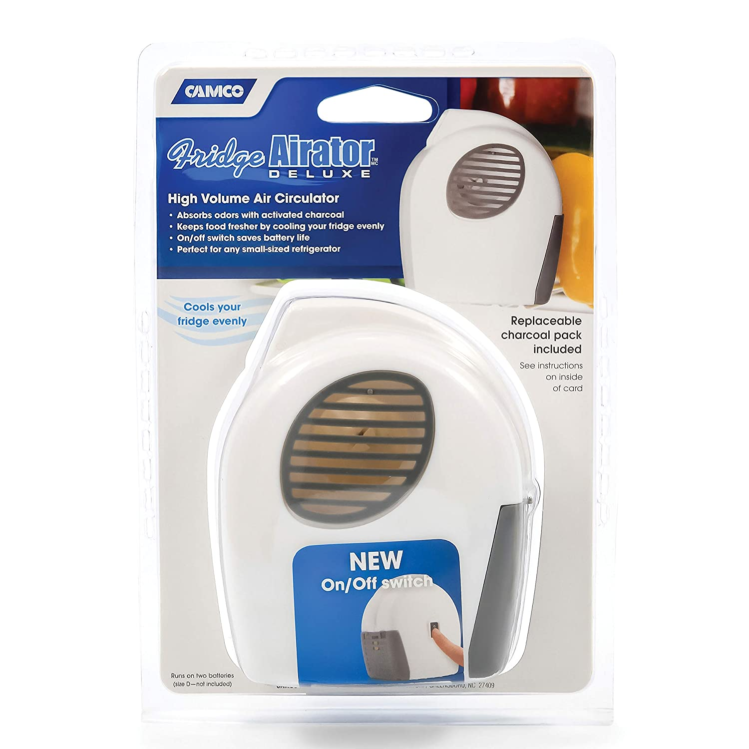 Camco Fridge Airator with On//Off Switch Absorbs Refrigerator Odors and Smells 44124 Space Efficient Compact Design Maintains Consistent RV Temperature